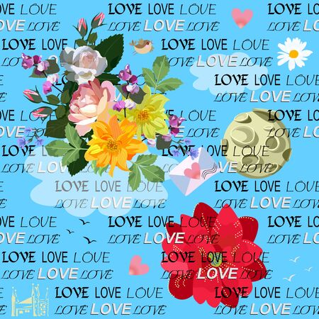 Seamless romantic pattern with bouquet of garden flowers, hearts, letter, moon, little bird, cloud, silhouette of castle and wordcloud Love on blue sky background. Print for fabric, wallpaper, card.