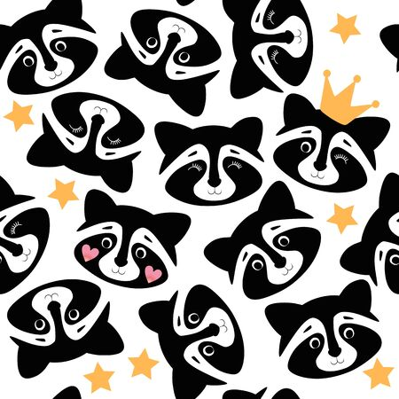 Cute seamless pattern with raccoons on white background. Print for fabric.