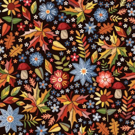 Autumn embroidered print. Seamless pattern with embroidery of flowers and leaves. Colorful design for fall season.