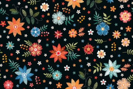 Embroidery seamless pattern with colorful flowers on black background. Fashionable print for fabric. Vector embroidered illustration.