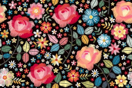Embroidery seamless pattern with beautiful colorful flowers. Floral print for fashion design. Vector embroidered illustration.