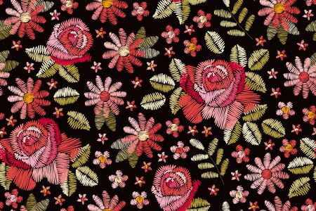 Embroidery seamless pattern with beautiful pink flowers. Spring print. Fashion design. Vector embroidered illustration. Иллюстрация