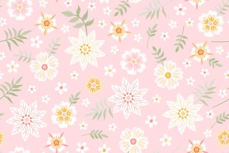 Romantic embroidered pattern. Tender embroidery of white flowers on pink background. Seamless design for fabric and textile.