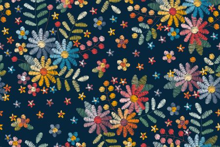Embroidery seamless pattern with floral motifs. Colorful flowers, leaves and berries on dark blue background.
