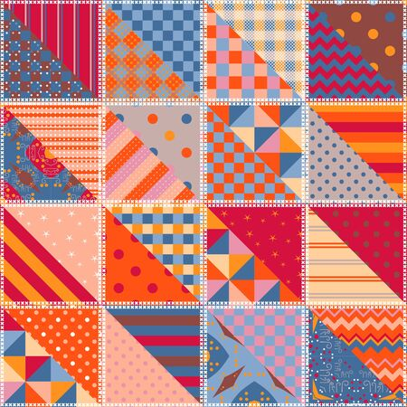 Colorful seamless patchwork pattern with ethnic motifs. Bright print for cozy textile. Иллюстрация