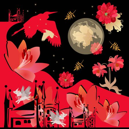 Fantasy landscape with red flowers, winged unicorns, moon and stars in night sky, silhouettes of herons, castle, red mountains and autumn leaves. Bandana print or square poster. Ilustração