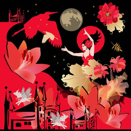 Square poster or shawl with magical pattern. Girl flamenco dancer, fairytale winged birds, unicorns, castles, flowers, autumn leaves, night sky with stars and planets in gold, red and black colors.