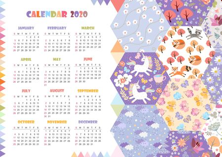 Cute calendar for 2020 year. Week starts on sunday. Vector template with fairytale patchwork pattern. Unicorns, magic forest with cats and foxes, flowers, butterflies, clouds with stars.