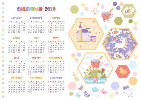 Cute calendar for 2020 year with unicorn, magic castle and fairy landscape. Vector illustration for kids. Ilustração