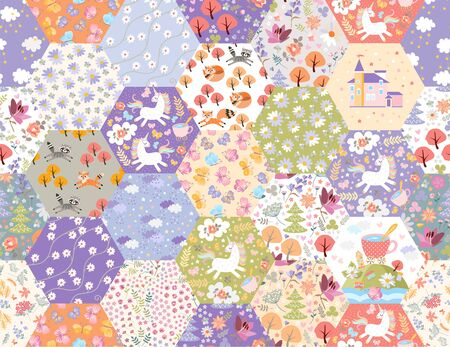 Fairytale patchwork seamless pattern with unicorns and magic forest. Cute print for fabric. Beautiful design for kids. Ilustração