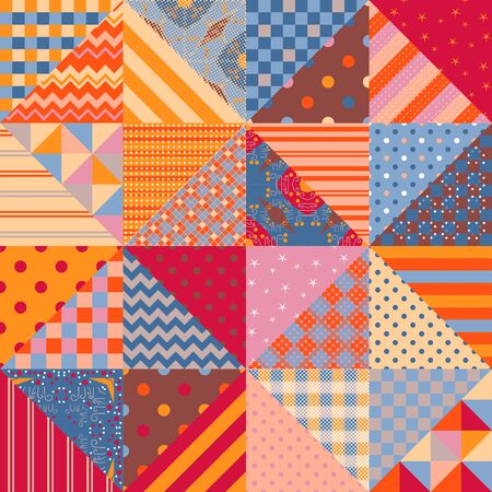 Seamless patchwork pattern with multicolor geometric ornaments. Print in ethnic style for fabric and textile. Cute quilting design.