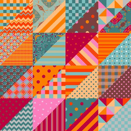Patchwork seamless pattern. Colorful ornamental triangle patches combine in squares.