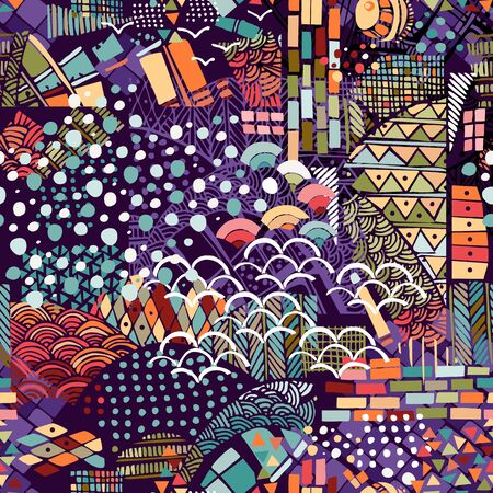 Colorful abstract print with different elements and shapes. Seamless pattern.