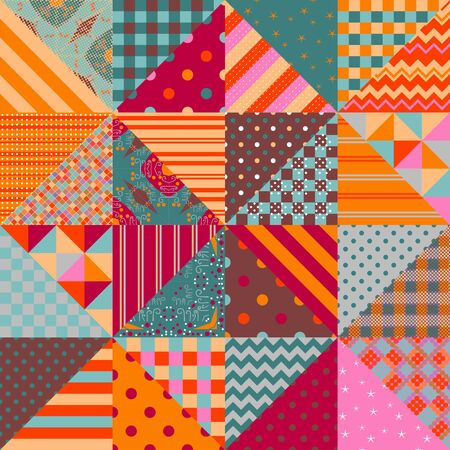 Quilting design background. Seamless patchwork pattern in ethnic style.