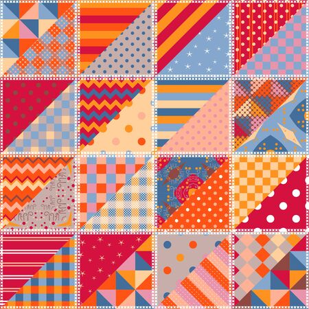 Bright multicolor patchwork pattern. Seamless design of quilt. Colorful print for fabric and textile.