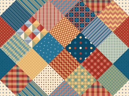Seamless patchwork pattern from patches with different geometric ornaments. Quilting design background.