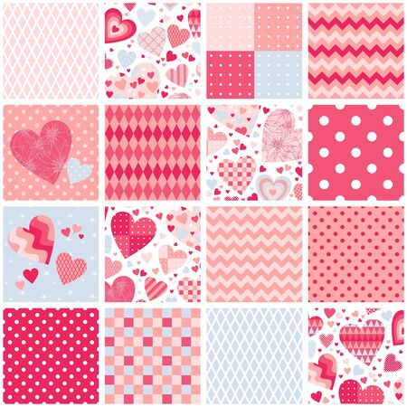 Patchwork quilt with hearts and geometric ornaments. Seamless pattern. Romantic design in pink colors. Ilustração