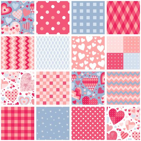 Patchwork seamless pattern from square patches with hearts and geometric ornaments. Cute print for Valentines day.