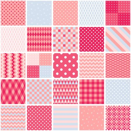 Patchwork seamless pattern from square patches with geometric ornaments in pink tones. Romantic quilt design. Ilustração
