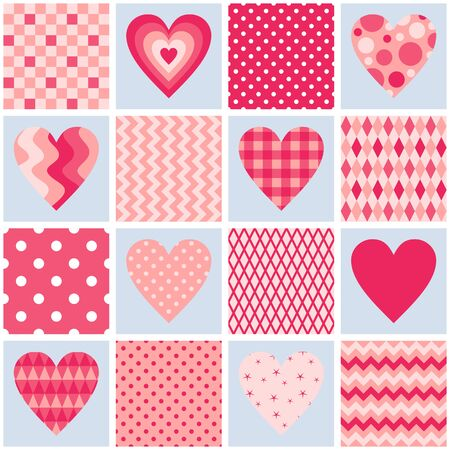Seamless patchwork pattern with hearts and geometric ornaments in pink colors. Beautiful illustration for Valentines day.