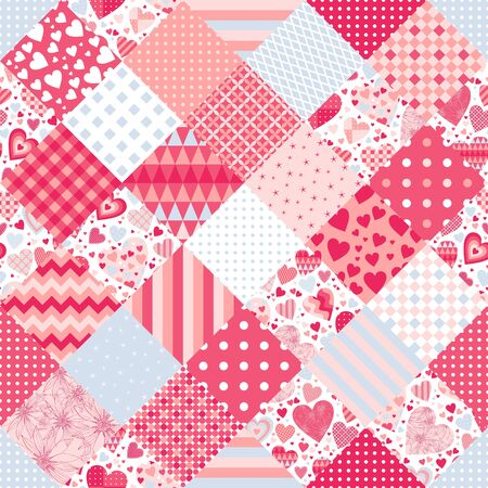 Cute patchwork seamless pattern with hearts and geometric ornaments. Print for fabric and textile.