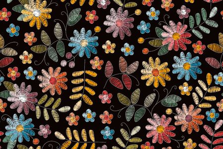 Embroidery seamless pattern with colorful flowers and leaves on black background. Beautiful print for fabric. Embroidered floral design. Ilustração