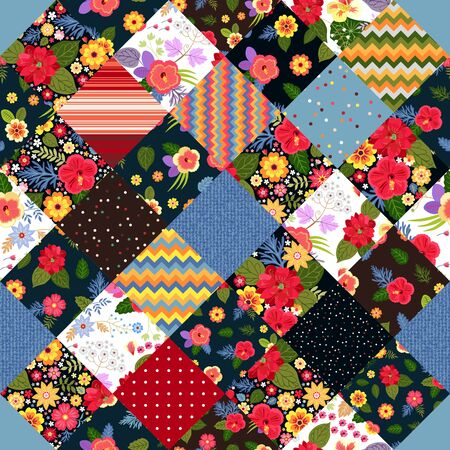 Bright patchwork pattern with colorful tropical flowers. Blanket, rug, pillowcase. Ilustração