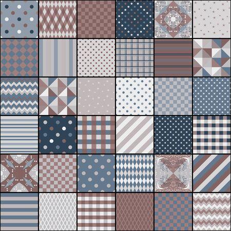 Diseño de acolchado a partir de patrones cuadrados con diferentes ornamentos geométricos. Estilo vintage. Patrón de mosaico sin fisuras. Ilustración de vector