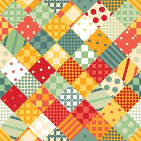 Bright colorful patchwork. Seamless pattern for children.