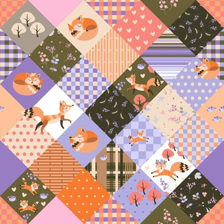 Cute seamless patchwork pattern with foxes, birds, flowers and trees. Quilting design