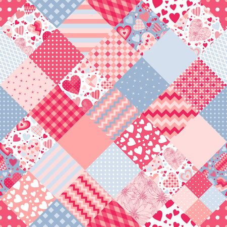 Cute seamless patchwork pattern with hearts and ornamental patches. Beautiful print for fabric, textile and wrapping paper. Romantic design for Valentines day. Ilustração
