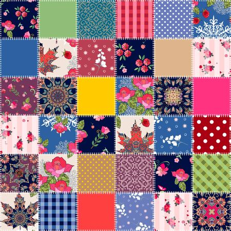 Bright seamless patchwork pattern from square patches. Colorful quilt design.