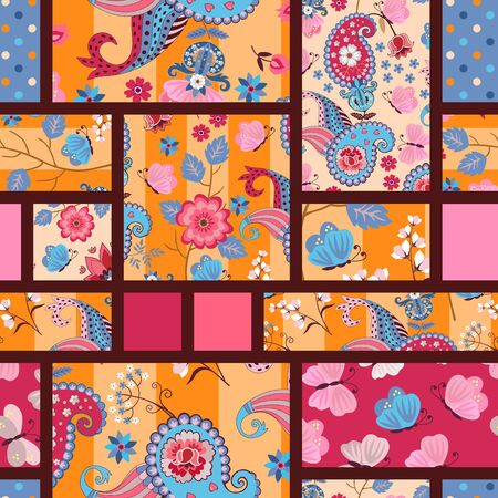 Bright seamless patchwork pattern with paisley and floral ornaments. Colorful print for fabric and textile.