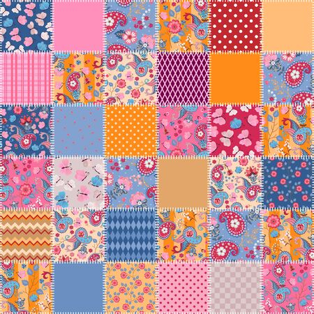 Patchwork seamless pattern from stitched squares with paisley, flowers and butterflies. Print for fabric and textile. Cute quilting design. Foto de archivo