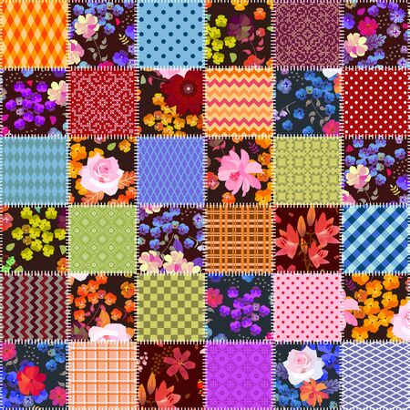 Patchwork seamless pattern with stitched square patches with floral and geometric ornaments. Bright quilting design. Collage.
