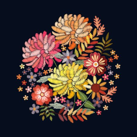 Embroidery bouquet with beautiful bright flowers and leaves. Colorful floral composition on black background. Illusztráció