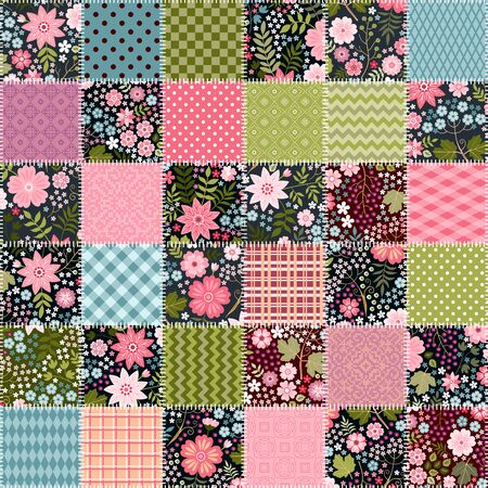 Patchwork seamless pattern with floral and geometric ornaments. Beautiful quilt design.