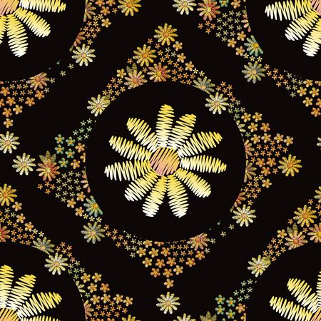 Embroidery seamless pattern with beautiful floral ornament on black background.