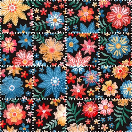 Embroidery seamless patchwork pattern. Original quilting design with bright embroidered flowers.
