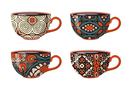 Teacups with decorative ethnic ornaments. Set of four cups. Illustration