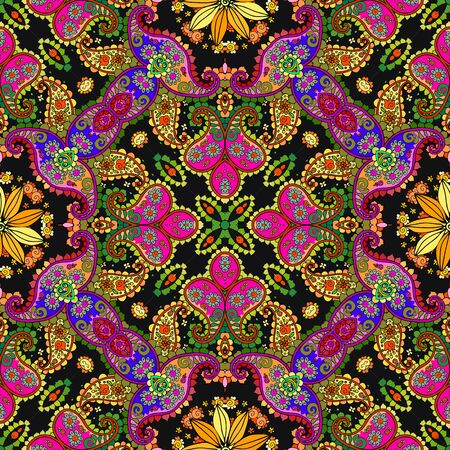 Festive seamless pattern with colorful paisley and floral ornament. Bright design for home textile. Print for fabric in ethnic style.