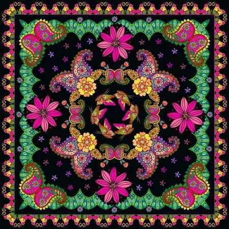 Festive bandana print with flowers, butterflies and paisley ornament. Colorful square pattern. Card, kerchief design, pillowcase. Ilustração