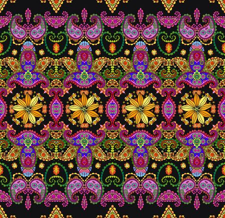 Oriental seamless pattern with beautiful floral and paisley ornament. Colorful print for fabric. Fashion summer design. Ilustração
