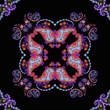 Symmetric ornament with colorful paisley elements on black background. Bright ceramic tile. Ilustracja