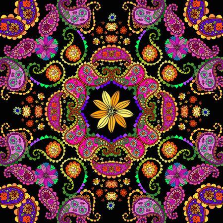 Decorative floral and paisley ornament. Bright colorful seamless pattern. Bandana print. Ilustração