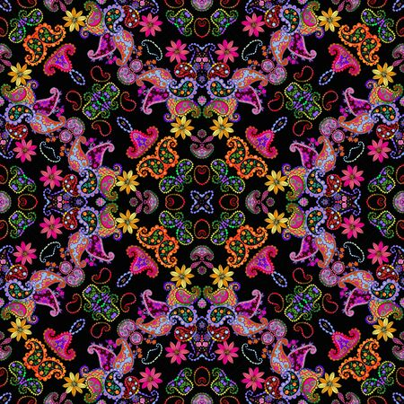Colorful seamless pattern with ornament in ethnic style. Bandana print, scarf, shawl. Fashion design for fabric.