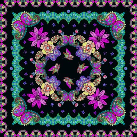 Beautiful square ornamental pattern with flowers, paisley and butterflies. Print for bandana, scarf, shawl, kerchief. Bright fashion design. Stock Illustratie