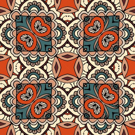 Seamless pattern with ornament in ethnic style. Ceramic tile. Print for fabric.
