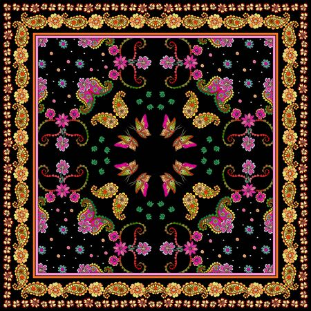 Silk bandana print with butterflies, paisley and floral border on black background. Beautiful square pattern.