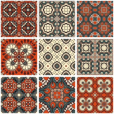 Beautiful set with square ceramic tiles. Ornamental patterns in ethnic style. Ilustrace